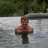 How could this man hold a grudge against anything?  Oh, and he's farting in that water.  I know it.