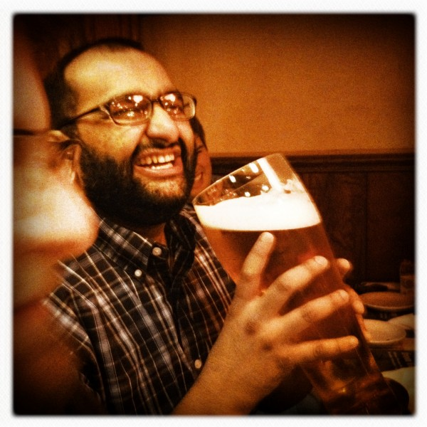 A funny big beer for a funny little man!  Marriage!