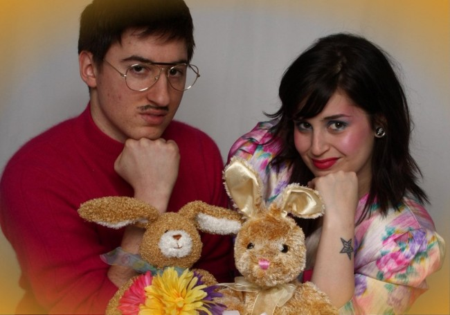 As crazy as these two look, it got worse when they started humping those bunnies a second after the picture was taken.