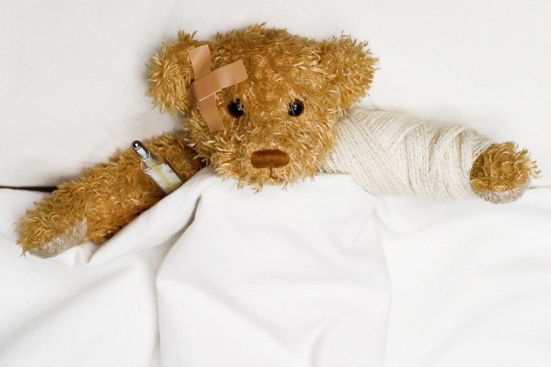 Teddy bear as a patient in hospital